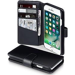iPhone 8 / iPhone 7 Funda Cartera de auténtico cuero, tapa delantera con billetera para tarjetas - Negro oscuro