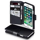 iPhone 7 Case, Terrapin ECHT LEDER Brieftasche Case Hülle mit Kartenfächer und Bargeld für iPhone 7 Hülle Schwarz