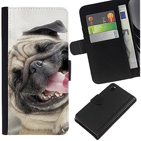 Pug Happy Smiling Dog Pet Canine Fawn - la tarjeta de Crédito Slots PU Funda de cuero Monedero caso cubierta de piel Sony Xperia Z3 D6603