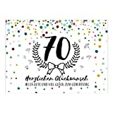 Große XXL Design Glückwunsch-Karte zum 70. Geburtstag mit Umschlag/DIN A4/Konfetti mit Jubiläumskranz/Schnaps-Zahl/Grußkarte