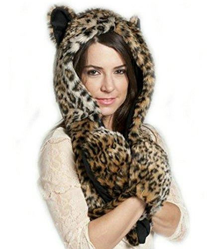 LATH. PIN para mujer, único diseño de animales con capucha bufanda sombrero niñas invierno piel forro polar gorro bufanda guantes todo en uno tigre