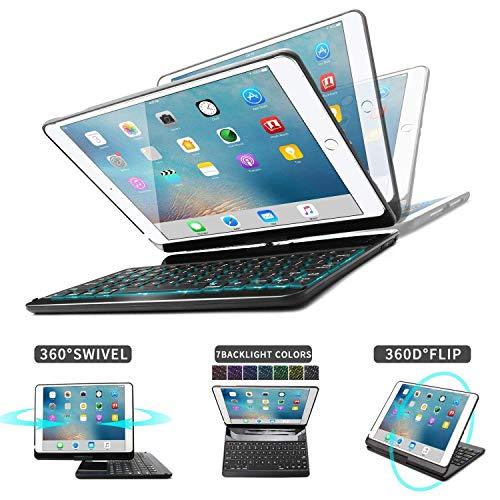 iPad 9.7 2018(6th Gen) iPad 9.7 2017(5th Gen)/ Air 2/ Air 1/ Pro 9.7 Tastiera Custodia, D DINGRICH Alluminio Custodia Cover Bluetooth