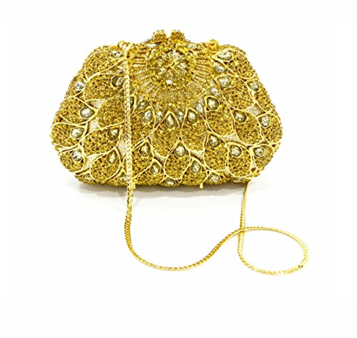 Strawberryer Europe Et Les Etats-Unis Custom Hollow Coller Drill Dinner Bag Banquet Décoré Dames Portefeuille gold