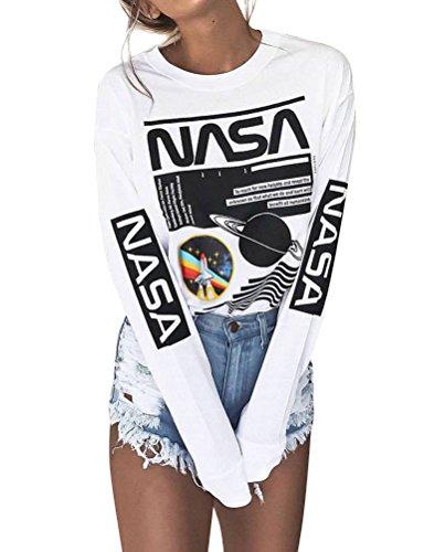 Nlife Frauen Mode Weiß NASA Brief Drucken Langarm Sweatshirt Tunika Shirt Bluse
