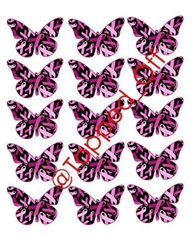 15 Schmetterlinge, groß, mit rosa Schleife für Breast Cancer Awareness-Cupcake-Dekoration -