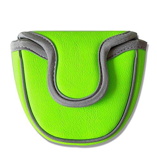 Große Zähne Golf Mallet Putter Cover Schlägerhaube Club Displayschutzfolie Magnetverschluss für Scotty Cameron Taylormade Odyssey 2Ball, grün -
