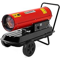 EBERTH 30kW chauffage direct au fuel (protection contre la surchauffe, thermostat intégré, allumage électronique, 230V, pare-flammes, poignée de transport, châssis)