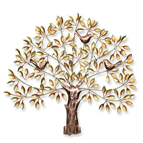Collectible India Metal Handmade Golden Tree of Wisdom and Life Wall Hanging Art Decor Sculpture with Birds Sitting on Branches,31x28-inch(Golden)