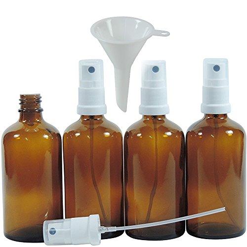 Bernstein-essenz-Öle (Viva Haushaltswaren - 4 x Apotheker-Sprühflasche 100 ml aus Braunglas, kleine Glasflaschen mit Zerstäubereffekt - Made in Germany & BPA frei (inkl. einem Trichter Ø 5 cm))
