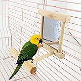 CDELEC 1PC Wooden Pet Funny Wood Bird Jouet Miroir Fun Toys For Parrots Small Parrot Birds Jouets Pet Mirror