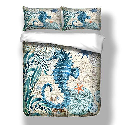Reise Karte Bettbezug Set mit Kissenbezug, 3D Blau Seepferdchen Delphin Schlafzimmer Dekoration Bettwäsche Set Winter Herbst (Seepferdchen, 220x240cm) ()