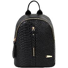 Mochilas de cuero para mujer Bolsas de escuela para adolescentes Bolsa de viaje Bolsa de hombro LMMVP (24cm*20cm*10cm, Negro)