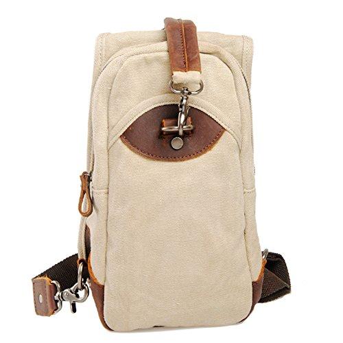 GSPStyle Herren Canvas Tasche Brusttasche Unisex Freizeitstasche Schultertasche Sporttasche Beige