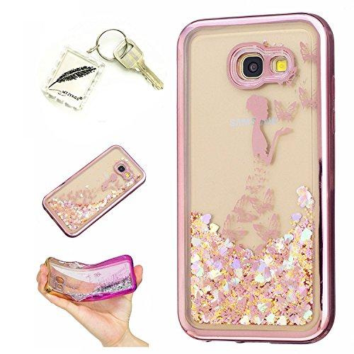 Preisvergleich Produktbild Silikonsoftshell TPU Hülle für Samsung Galaxy A5 (2017) (5,2 Zoll) Tasche Schutz Hülle Case Cover Etui Strass Schutz schutzhülle Bumper Schale Silicone case+Exquisite key chain X1) #KF (6)