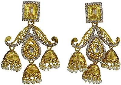 Matra Goldtone étnico estilo bollywood gota pendiente conjunto de pendientes indias mujeres joyas