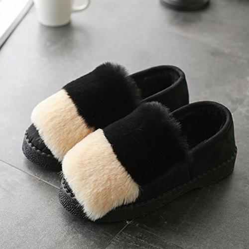 DogHaccd pantofole,Autunno Inverno pantofole di cotone spessa femmina, antiscivolo home soggiorno caldo con eleganti scarpe di cotone colore ortografico fagioli di soia Scarpa In bianco e nero1