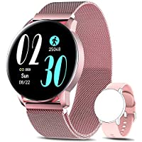 AIMIUVEI Smartwatch Mujer, Reloj Inteligente IP67 con Pulsómetro Presión Arterial 8 Modos de Deportes Monitor de Sueño, 1.3 Inch Reloj Deportivo Mujer para iOS y Android