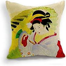 Diseño Retro en una notificación japoneses Geisha de manga corta para mujer paraguas diseño con texto en inglés de cojín con funda de almohada Sham 45 cm