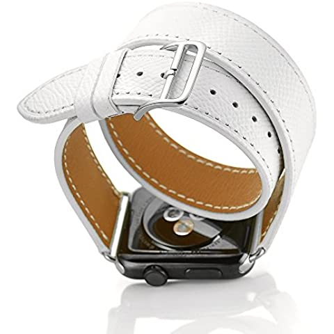 FOTOWELT per Apple Watch Band, 2016 Doppio Tour New Cuoio Genuino Di Stile Di Lusso Watch Band Strap Di Ricambio Bracciale Per Apple Osservare iWatch Models 38mm- Bianco