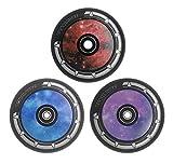 """Team Dogz Roller-Räder, 100mm, Kern aus Legierung, Design """"Galaxy"""", Stunt-Scooter-Rollen, schwarz, Polyurethan und ABEC-11-Kugellager–einzeln/paarweise in blau, violett, rot, Pair Blue"""
