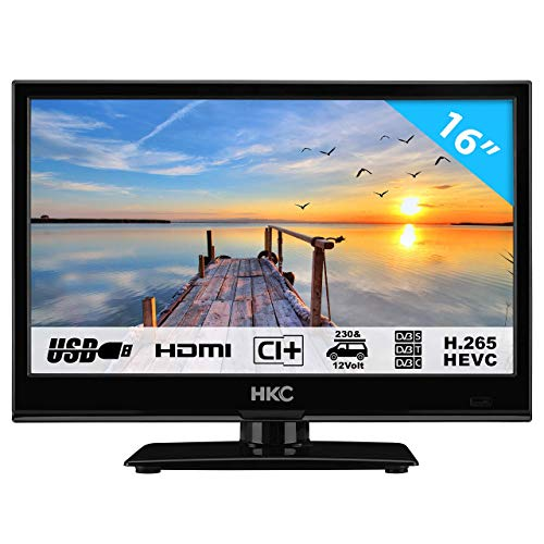 HKC 16M4: Televisor LED de 39,6 cm (16 Pulgadas) (HD-Ready, Triple Tuner, Ci+, Reproductor de Medios a través de USB 2.0, Cargador de Auto de 12 V)