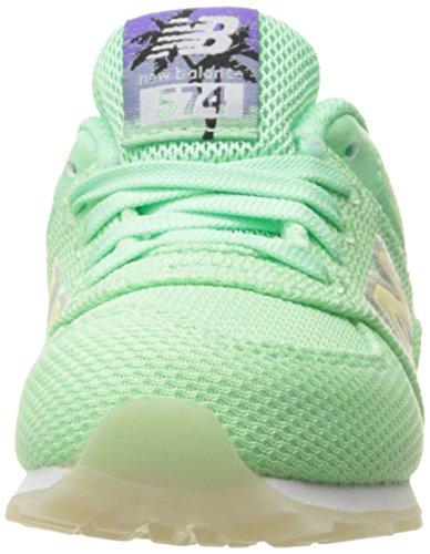 New Balance 574 High Visibility, Baskets Basses Mixte Enfant vert/blanc