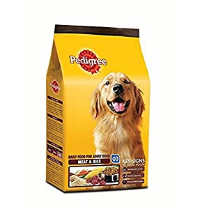 Pedigree Dry Dog Food, Meat & Rice for Adult Dogs – 3 kg (Pack of 6)