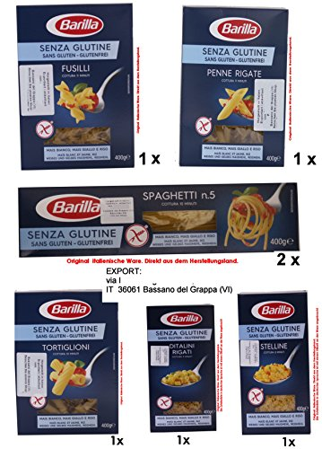 Barilla Senza Glutine Sortiment 1 x Fusilli- 1 x Stelline 1 x Ditalini Rigati 1 x Penne Rigate 1x Tortiglioni 2x Spaghetti je 400g = 2800g
