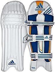 adidas Elite Hombre Protectores Bateo Críquet Protectores De Pierna Blanco/Azul - Blanco, Left Hand Mens