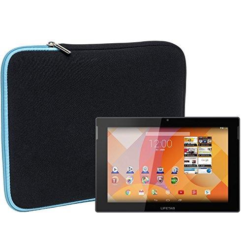 Slabo Tablet Tasche Schutzhülle für MEDION LIFETAB S10333 / S10334 / S10345 / S10346 (10,1 Zoll) Hülle Etui Case Phablet aus Neopren – TÜRKIS/SCHWARZ