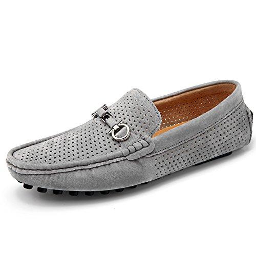 Men Loafer en cuir avec Moccasin Gommino Slip sur chaussures de marche pour conduire Casual Sneaker Gris