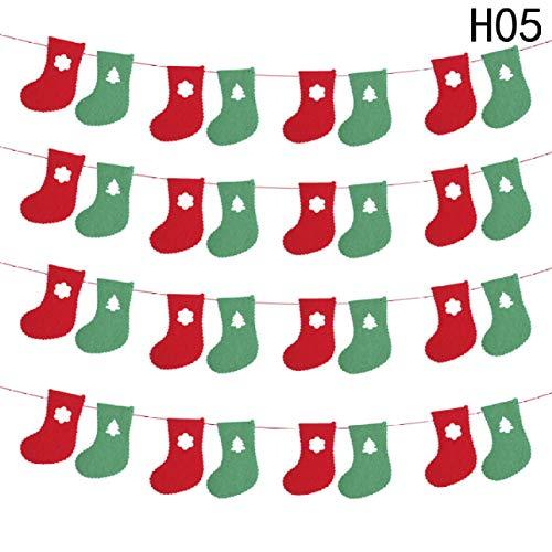 kunmingdahang 1 Set Weihnachtsdekoration Hängende Fahne Tuch Flaggen Vliesdreieckig Fenster Ziehflagge Non-Woven Socks Pull Flags -