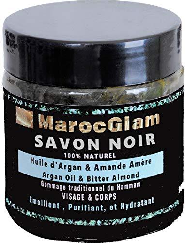 SAVON NOIR 100% naturel huile d'ARGAN et amandes amères - SPA visage et corps pour...