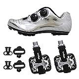 SIDEBIKE Radfahren Schuhe mit Pedalen, Mountainbikeschuhe PU Mikrofaser, Fahrradschuhe Rutschfest, Tragbar, Atmungsaktivität (42, Silber)