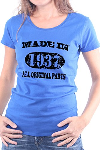 Mister Merchandise Donne Donna Camicetta T-Shirt 77 78 Made in 1937 All Original Parts Years Jahre Geburtstag , Ladies Tee Taglia: XL, Color: Blu