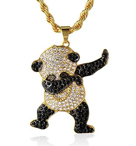 Halukakah ● panda ● uomo maschile 18k 18 carati placcato oro reale cz pieno diamante 3d panda danzante pendente collana con catena di corda gratuita 75cm(30
