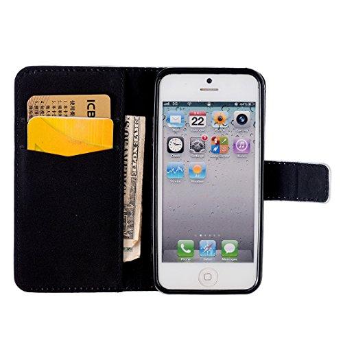 iPhone SE / 5 / 5S Hülle im Bookstyle, Xf-fly® PU Leder Flip Wallet Case Cover Schutzhülle für Apple iPhone SE / 5 / 5S Tasche Handytasche Schutz Etui Schale Handyhülle P-3