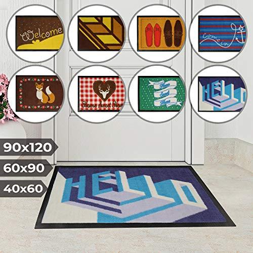 Jago Fußmatte für Eingangsbereiche - in acht verschiedenen Designs und DREI Größen - Türvorleger, Fußabtreter, Schmutzfangmatte, Schuhabstreifer (40 x 60 cm, Hallo)