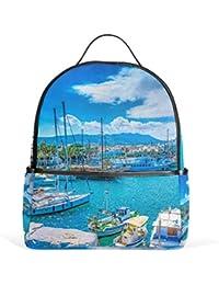 MyDaily Port of Kos Island Greece Backpack for Boys Girls School Bookbag