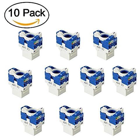 CAT6 Snap-in Keystone Jack, MACTIS® RJ45 Catégorie 6 Module Ethernet Gigabit Adaptateur En-ligne Coupleurs (10 pcs, Bleu blanc)