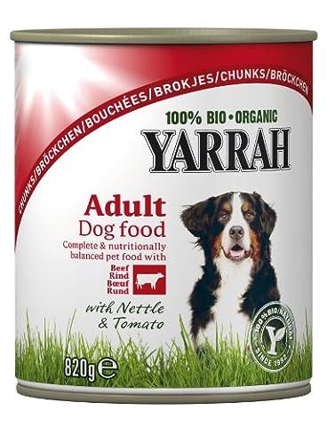 Yarrah bröckchen poulet, bœuf, ortie, tomate 820g Bio Nourriture pour chien, pack de 6x 0,82kg)