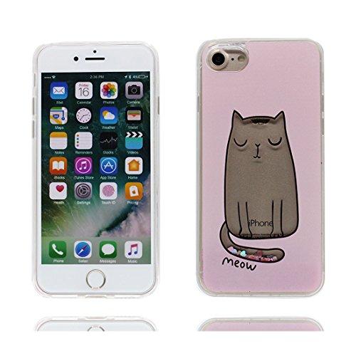 iPhone 6S Custodia, | Case trasparente del silicone del gel della scintilla del liquido di Bling Bling sottile Shell Skin | Copertura per iPhone 6s / 6 4.7 - (Animal Style Cat) rosa