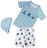 Bevalsa Kinder Jungen 3tlg. Bademode Badeanzug Set kurzarm T-shirt+Badeshorts+Bademütze Uv-Schutz Bade-Set Bade Schwimm Kleidung mit Cartoon Aufdruck