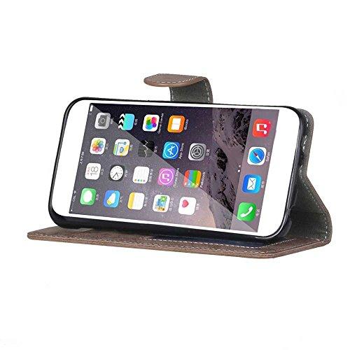 Voguecase® für Apple iphone 5 5G 5S hülle,(Wasserzeichen/Beige) Kunstleder Tasche PU Schutzhülle Tasche Leder Brieftasche Hülle Case Cover + Gratis Universal Eingabestift Wasserzeichen/Braun