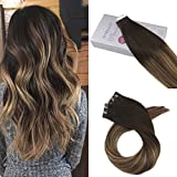 Moresoo 16zoll Glatt Echthaar Tape in Kleber Tressen Brasilianer Extensions Schwarz to Dark Braun Highlighted with Caramel Blond Remy Klebestreifen Haarverlängerung Balayage Extensions 20pcs/50gramm