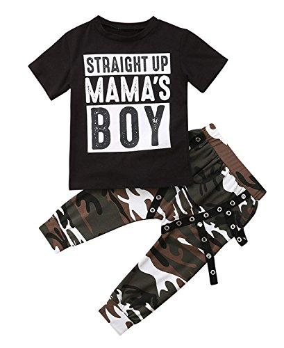 2 TLG Jungen Bekleidung Kinder Einfach Kurzarm T-Shirt Tops Harem Camo Hose (4-5 Jahre/120) -