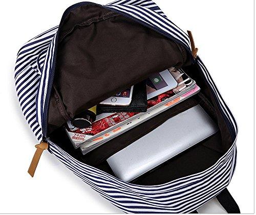 Minetom Bande Fermeture Éclair Tissé Fabrics Sac À Dos Loisir Multi-Fonction Voyages Scolaire Backpack Femme Noir