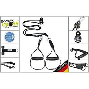 BodyCROSS Premium Schlingentrainer mit Umlenkrolle | inkl. Übungsposter, 10-Wochen Trainingsplan, Türanker und Befestigungsschlaufe | Rotate Sling Trainer | Made in Germany | 10 Jahre Garantie