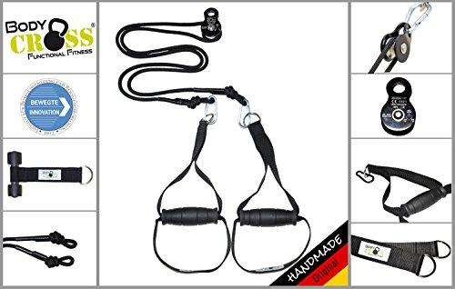 BodyCROSS Premium Schlingentrainer mit Umlenkrolle   inkl. Übungsposter, 10-Wochen Trainingsplan, Türanker und Befestigungsschlaufe   Rotate Sling Trainer   Made in Germany   3 Jahre Garantie