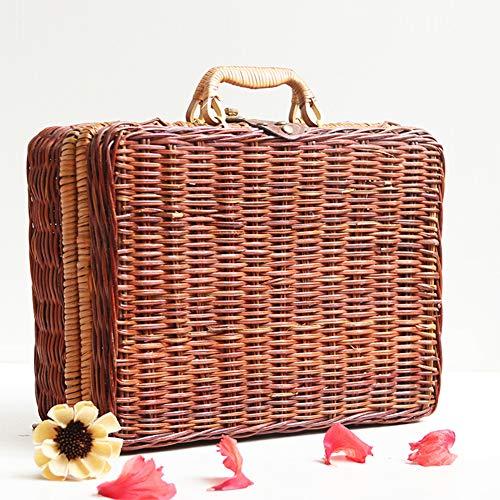 Rattan-Koffer, geflochten, Aufbewahrungskorb, tragbar, Country-Picknickkorb, Webbox, Tasche für Outdoor, Ausflüge, Reisen, Camping